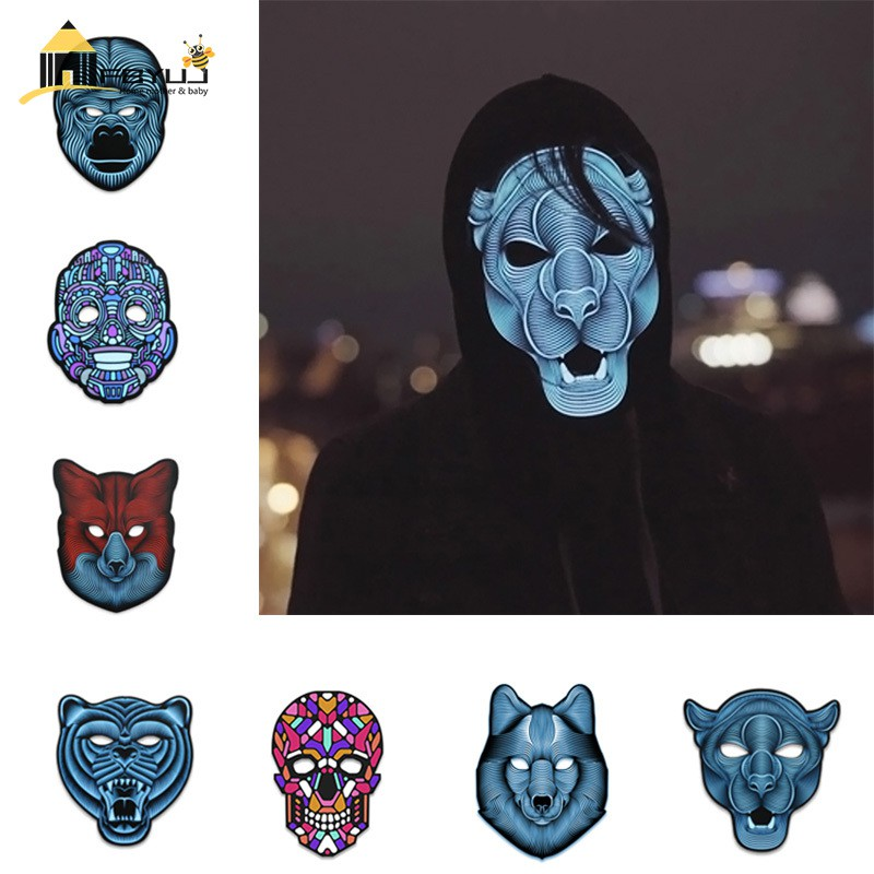 FBYUJ- Sound Reactive LED Mask Sound Activated Street Dance Rave Plur Party Mask Supplies