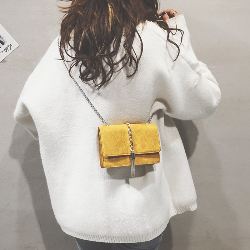 Small bag female frosted tassel small square bag chain wild