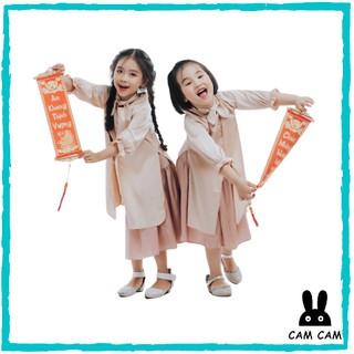 set áo dài cách tân cho bé gái, áo dài tết 2021 áo dài + chân váy+ khăn, áo dài cho bé gái cho bé gái Free Ship Hà Nội