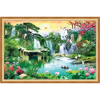 Tranh đồng hồ cảnh đẹp Sơn Thủy Hữu Tình DH_016
