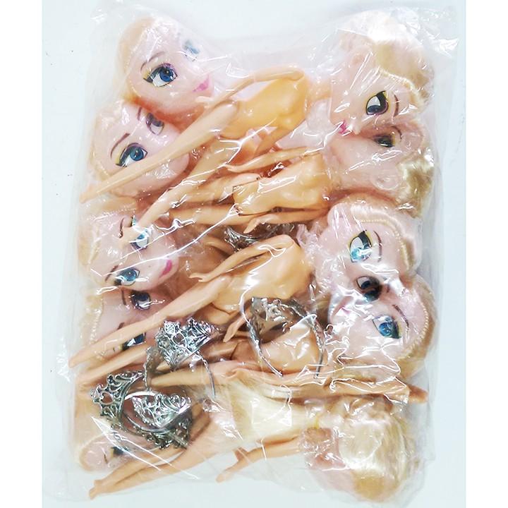 Combo 10 đồ chơi búp bê Elsa 17Cm + Vương miện, trang trí bánh kem (Không kèm quần áo)