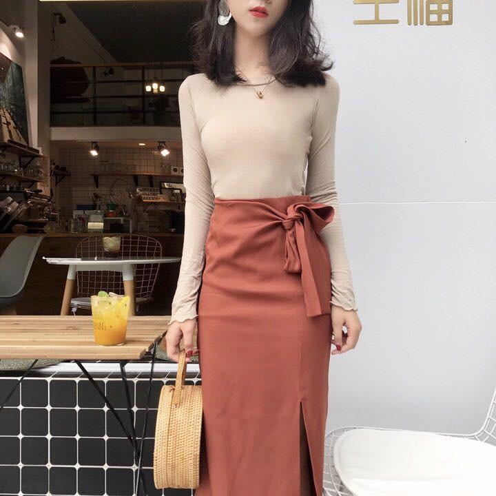 Hàng nhập_Chân váy vintage thắt nơ