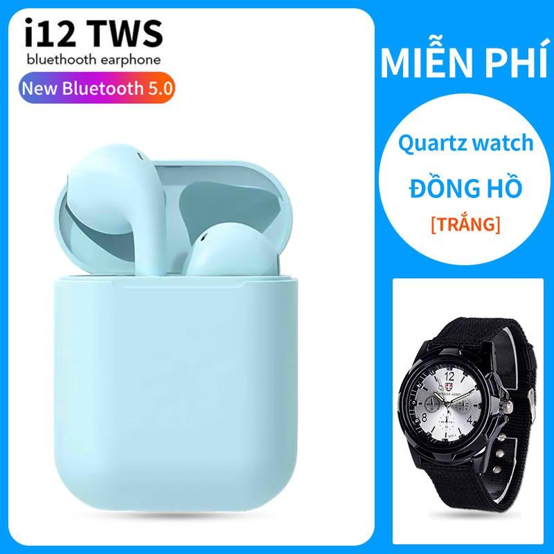 【Đồng hồ thạch anh miễn phí】Tai Nghe Bluetooth 5.0 i12 TWS - Cảm Biến Vân Tay, Chất Âm Êm, Trong Trẻm Thời Lương Pin Tố