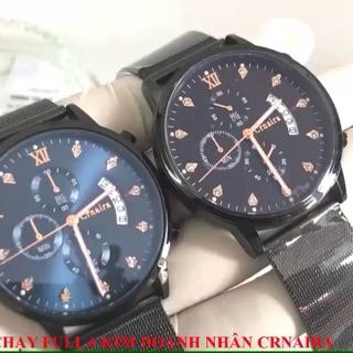 Đồng hồ nam chạy 6kim CRNAIRA dây thép mành cao cấp C029 + TẶNG VÒNG TAY TỲ HƯU