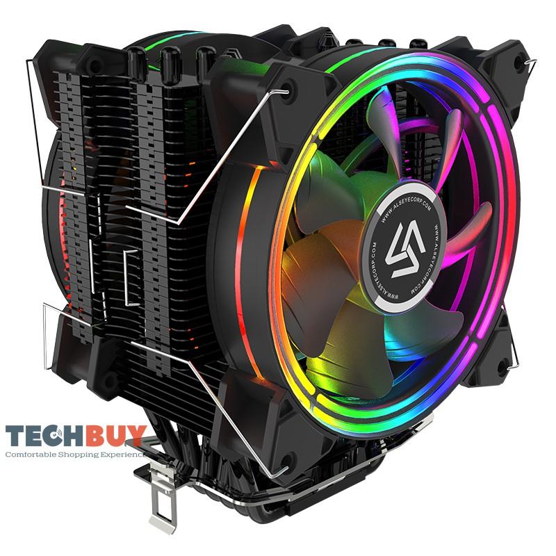 Tản nhiệt khí CPU ALSEYE H120D, 6 ống đồng, 2 Fan RGB, Sơn tĩnh điện Full Đen. Hỗ trợ Full Socket AMD/ INTEL