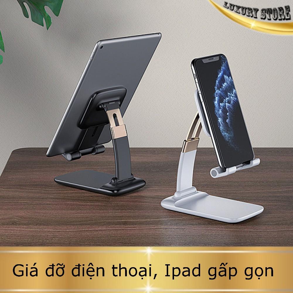 Giá đỡ Ipad/điện thoại/máy tính bảng để bàn gấp gọn. Hàng cao cấp chắc chắn, độ hoàn thiện cao