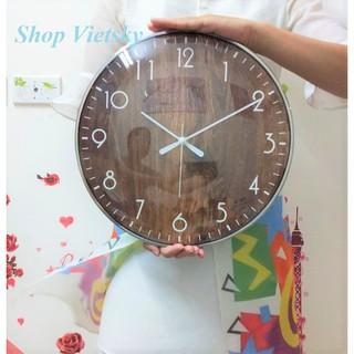 Đồng hồ treo tường vân gỗ - khung kim loại sang trọng 33 cm