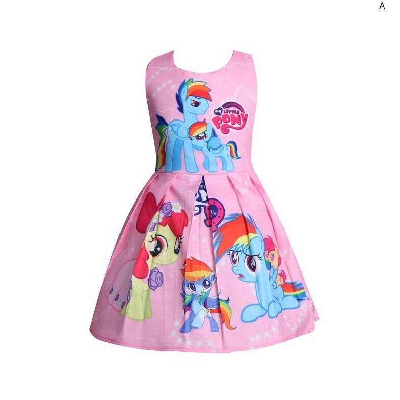 Đầm công chúa màu hồng in hình ngựa con hoạt hình cho bé gái
