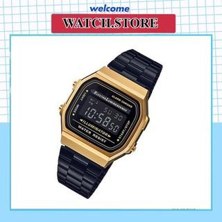 Đồng hồ nam cassio A168 cổ điển, chống nước, dây thép không gỉ, bảo hành chính hãng