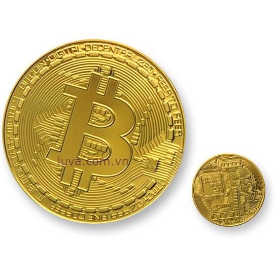 Đồng bitcoin tượng trưng mạ vàng 24k
