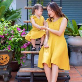 sét đầm đôi mẹ và bé gái Sét đôi 2 mẹ con tay phòng kèm videonhiều size ảnh mẫu shop