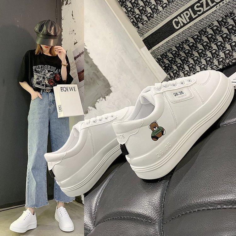 Giày Bata Da Pu Đế Dày In Hình Gấu Xinh Xắn Cho Nữ
