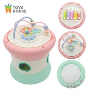 Trống điện tử kết hợp đàn gõ Xylophone và thả hình khối, kiêm luồn hạt vòng luyện tay cho bé - Toyshouse