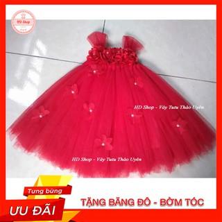 Đầm công chúa bé gái ❤️FREESHIP❤️ Đầm đỏ hoa hồng hoa dải tt cho bé gái