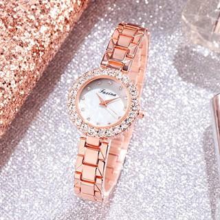 Đồng hồ thời trang nữ Faxina đính cườm kèm lắc pha lê sang trọng Sg449