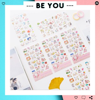 Bộ 6 Sticker Dán Nhiều Họa Tiết Hình Ảnh Dễ Thương (6 Trang - Mỗi trang với kiểu khác nhau) - BEYOU