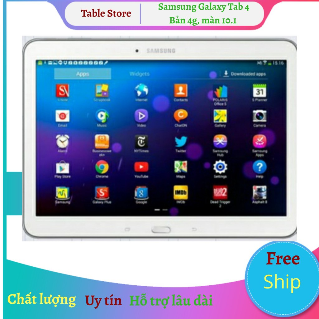 Máy tính bảng Samsung Galaxy Tab 4 10.1 bản+wifi tặng đế dựng, phần mềm tiếng Anh 123
