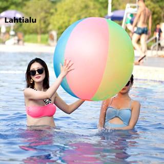 Lahtialu 100cm Rainbow PVC Inflatable Kids Beach Ball Swimming Pool Outdoor Game Toy
