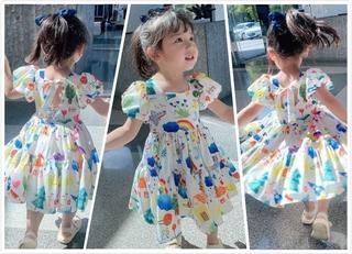 Đầm Tay Ngắn Thắt Nơ Nhiều Màu Cho Bé Gái