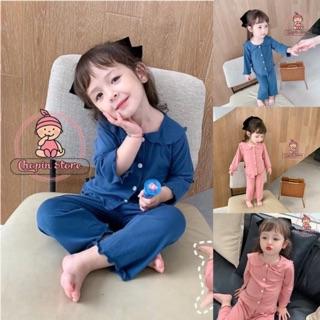 Bộ dài tay bé gái chất cotton mềm cổ sen - bộ dài tay cho bé gái - bộ cotton dài tay cho bé- đồ bộ bé gái