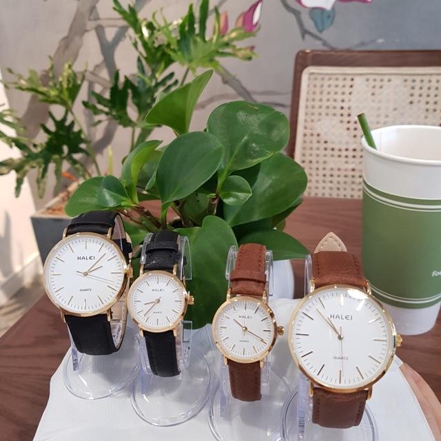 Đồng hồ đôi nam nữ Halei dây da nâu mặt số vạch chính hãng Tony Watch 68