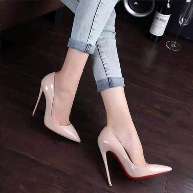 [FREE SHP 99K]  [Ngày hội giảm giá] Giày cao gót da bóng gót nhọn 10p đế đỏ sang chảnh hết nấc