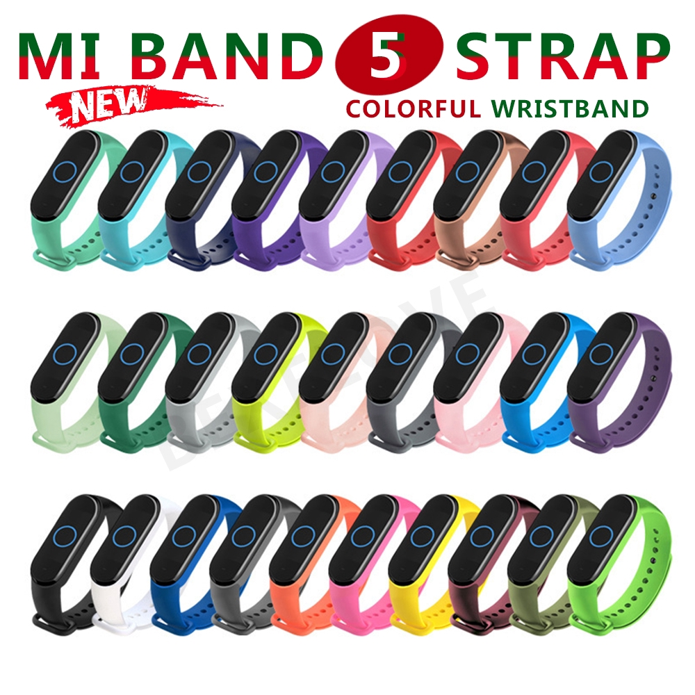 Dây đeo cổ tay bằng silicon nhiều màu sắc thay thế cho Xiaomi Mi Band 5