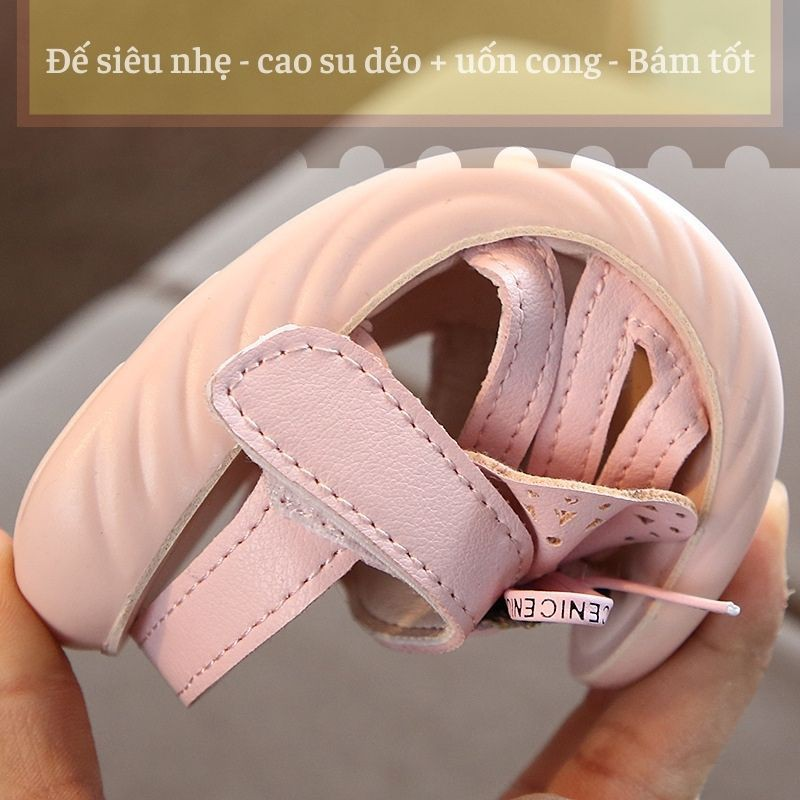 Dép quai hậu trẻ em da mềm đế chống trơn - Sandal bé gái gắn nơ 1-3 tuổi điệu đà và duyên dáng SG57