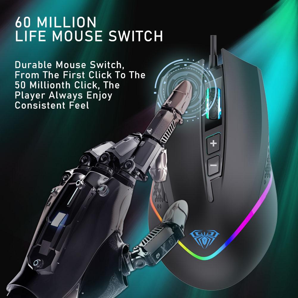 Chuột máy tính AULA F805 6 DPI hỗ trợ Macro chuyên dụng để chơi game