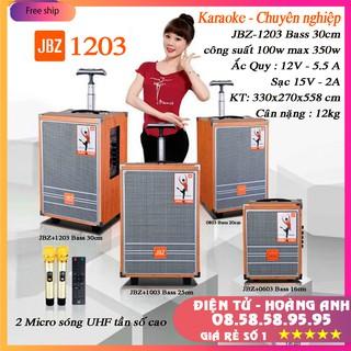 Loa kéo karaoke di động JBZ 1203 bas 3 tấc (0803-1003-0603) kèm 2 micro nhôm UHF không dây