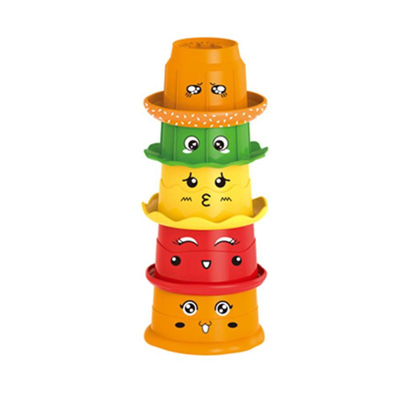5Pcs Stacking Rainbow Cups Stack Up Cups Toddlers Educational Baby Bath Toy Gift