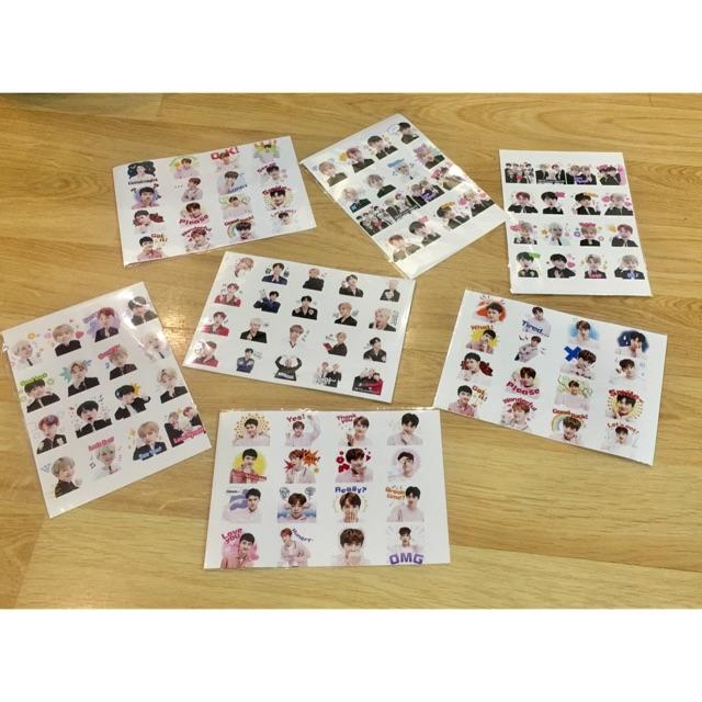 Ảnh sticker BTS dán combo 5 bảng ( mỗi bảng 16 ảnh)