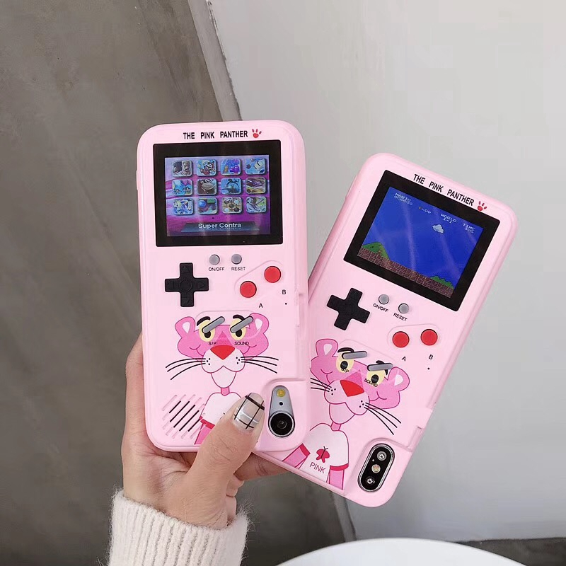 Cartoon Pink Panther Color Screen Game Phone Case For IPhone6/6S/7/8/6P/7P/8Plus/X/XS/XR/XS MAX