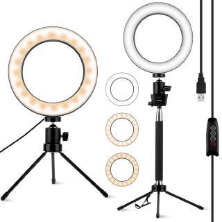 3PCS/Set 6.2 Inch LED Ring Live Light Mini Metal Tripod Telescopic Pole YouTube Makeup Live Dimmable Phone Camera Selfie Lamp
