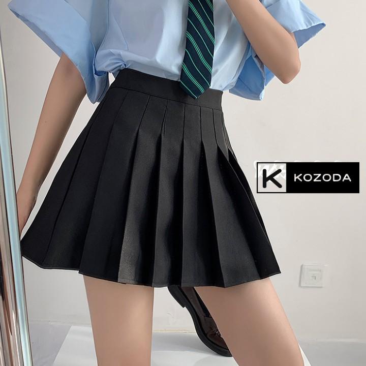 Chân váy tennis xếp li màu trắng đen xếp ly skirt cạp lưng cao ngắn chữ a phong cách ulzzang cv5b kozoda