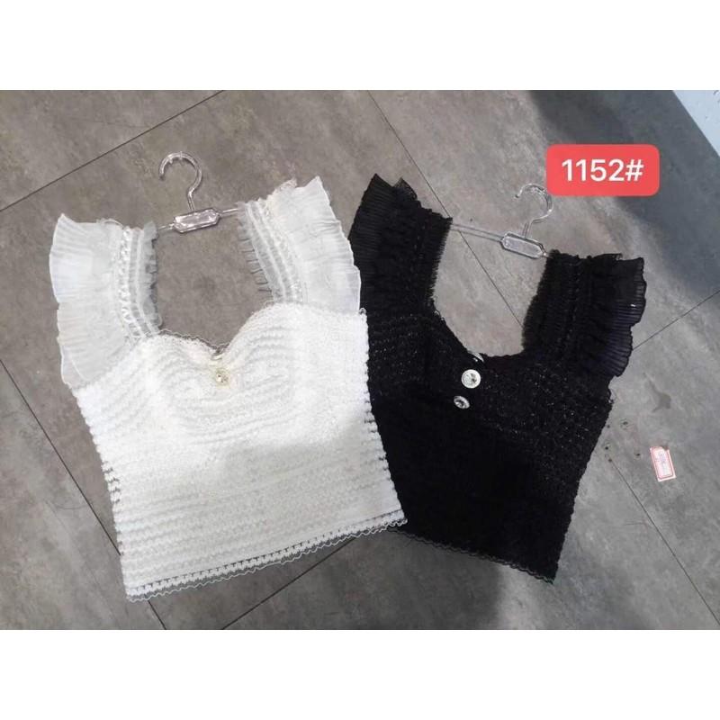 áo 2s 2 dây băng quấn kiểu dây bản to vai xếp ly khuy cúc ngọc - khoá lưng hot hit (1152#)