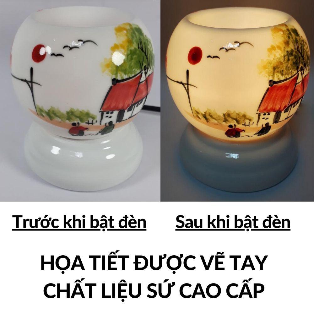 Đèn ngủ xông tinh dầu hương thơm phòng Gốm Việt Nam (Chủ đề Cá và Mẫu khác) Tặng 1 bóng đèn