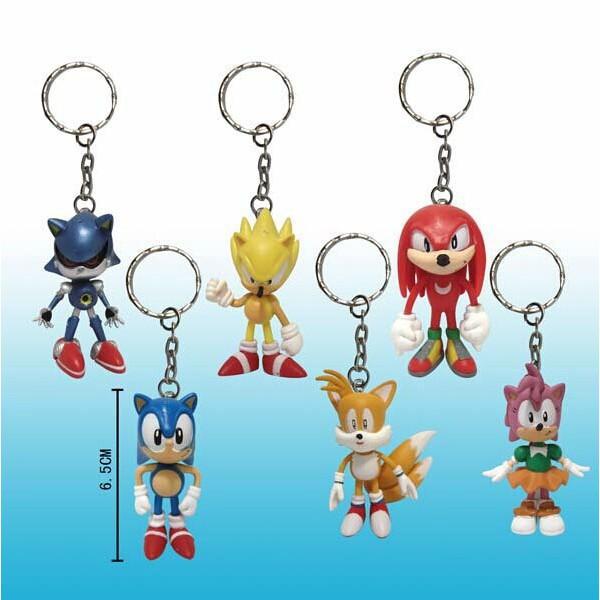 6 x The HEDGEHOG Sonic Amy Tails Figure Key Chain Keyrings
