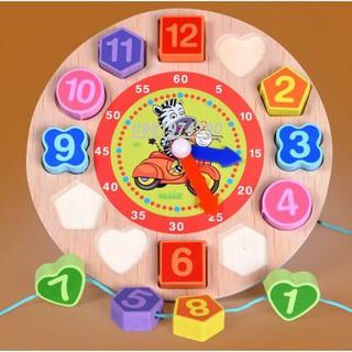 Đồ chơi đồng hồ gỗ xâu hạt hoạt hình cho bé