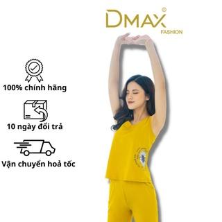 Bộ mặc nhà cotton Dmax họa tiết hoa cúc bên sườn áo sát nách quần ngô thumbnail