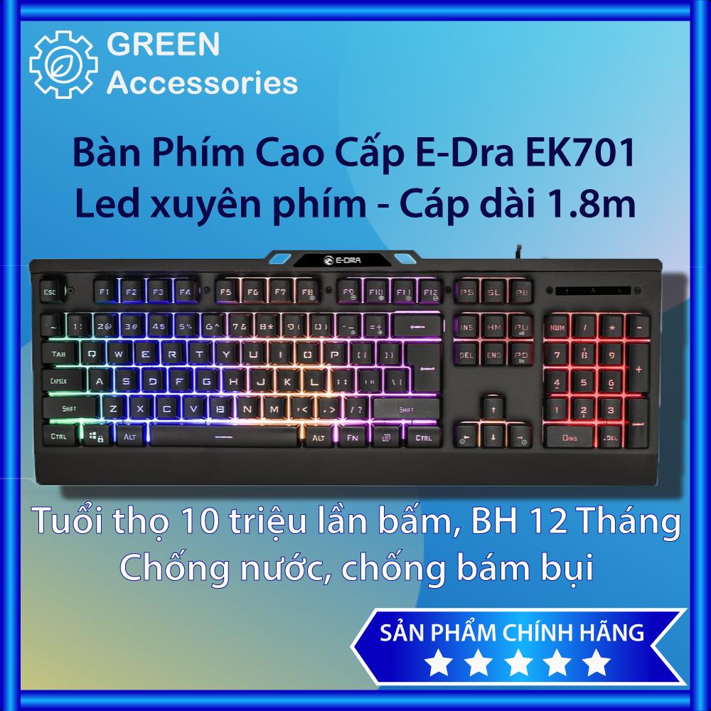 Bàn phím giả cơ chuyên game cao cấp E-DRA EK701 Kết nối USB 2.0, dây dù cứng cáp 1.8m, full 104 phím LED RainBow BH12T