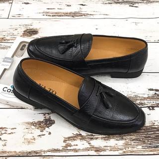 Giày Da Nam Công Sở Chất Liệu Da Bò Thật GY051 Đen