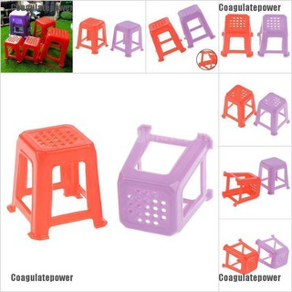 Coagulatepower 1/12 Scale Dollhouse Miniature Plastic Stools Chairs Pretend Play Furniture Toys
