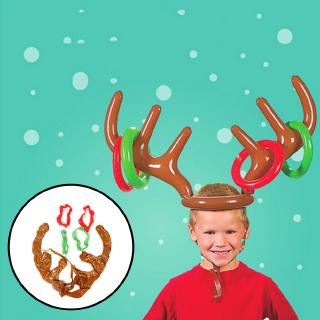 Inflatable Santa Reindeer Antler Hat Ring Toss Christmas Holiday Party Game
