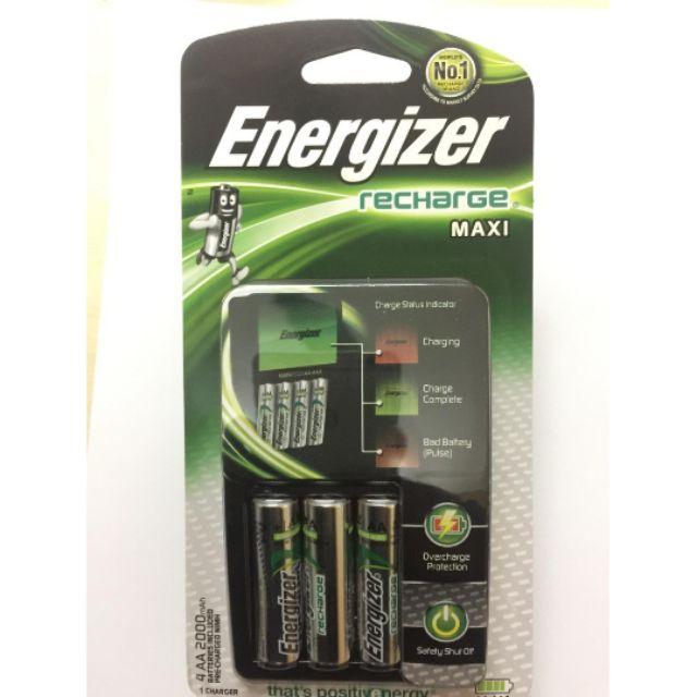 Máy sạc pin ENERGIZER tự động ngắt khi đầy pin kèm 4 pin sạc AA