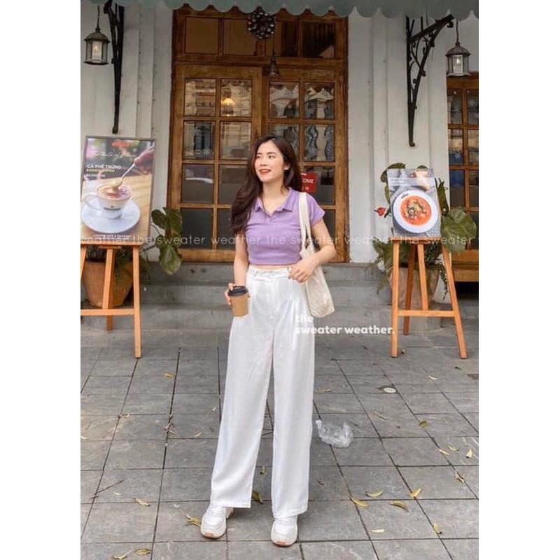 Mặc gì đẹp: Năng động với Áo Croptop Polo Cộc Tay Nữ 🦋 Áo Crt Cổ Bẻ Chất Thun Gân 3 Màu 🦋