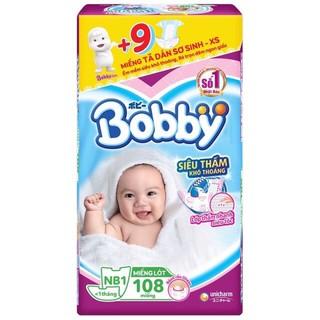 [Tặng kèm 9 miếng] Miếng Lót Sơ Sinh Bobby NewBorn 1 108 miếng