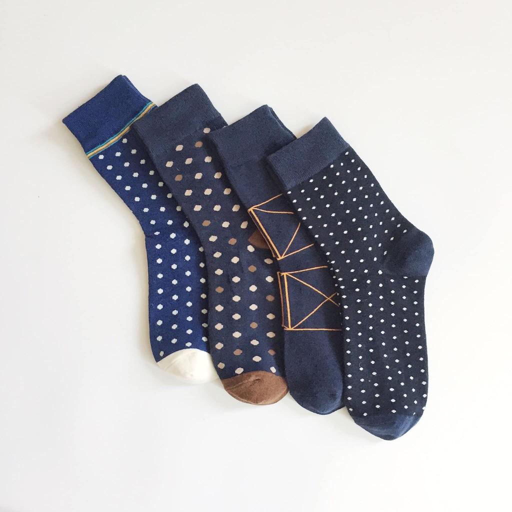 Set tất/vớ nam cổ cao 4 đôi POLKA-DOT họa tiết chấm bi màu trầm cho chàng thành đạt chất cotton cao cấp chống hôi chân