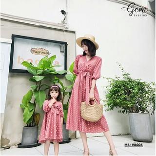 Váy Maxi Mẹ Và Bé lụa cát Hàn