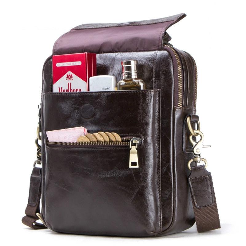100% Genuine Leather Men Shoulder Bag Crossbody Bags for 9.7